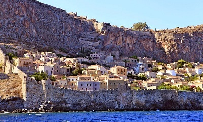Monemvasia Fortress Town from the sea